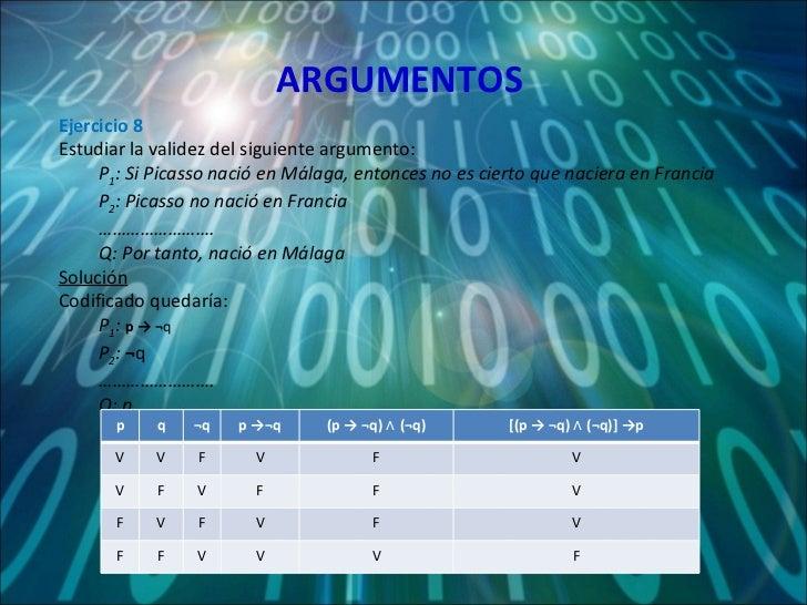 ARGUMENTOS <ul><li>Ejercicio 8 </li></ul><ul><li>Estudiar la validez del siguiente argumento: </li></ul><ul><ul><li>P 1 : ...