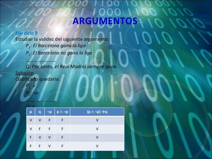 ARGUMENTOS <ul><li>Ejercicio 9 </li></ul><ul><li>Estudiar la validez del siguiente argumento: </li></ul><ul><ul><li>P 1 : ...