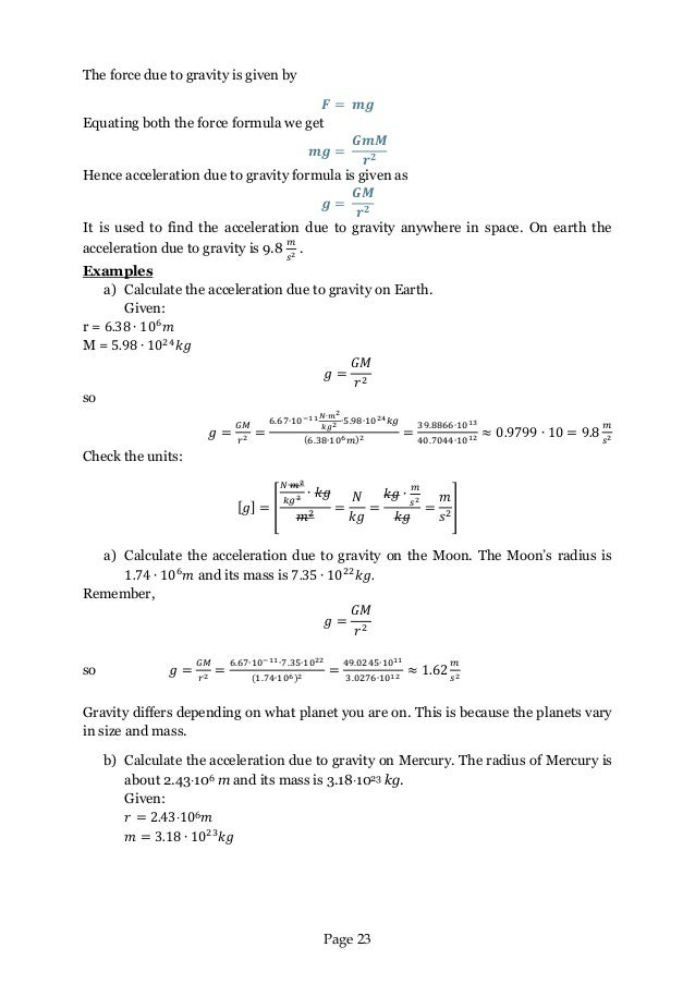 Maths and Astronomy Comenius Why Maths – Acceleration Due to Gravity Worksheet