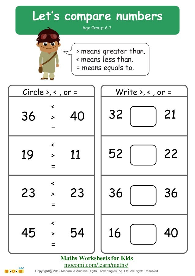 Let\'s Compare Numbers – Maths Worksheets for Kids – Mocomi.com