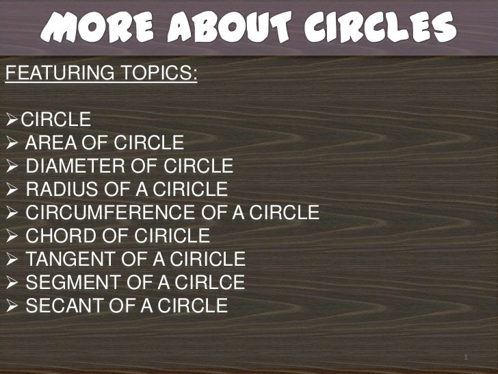 1<br />MORE ABOUT CIRCLES<br />FEATURING TOPICS: <br /><ul><li>CIRCLE