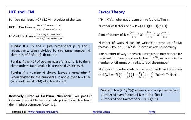 lcm and hcf formula pdf