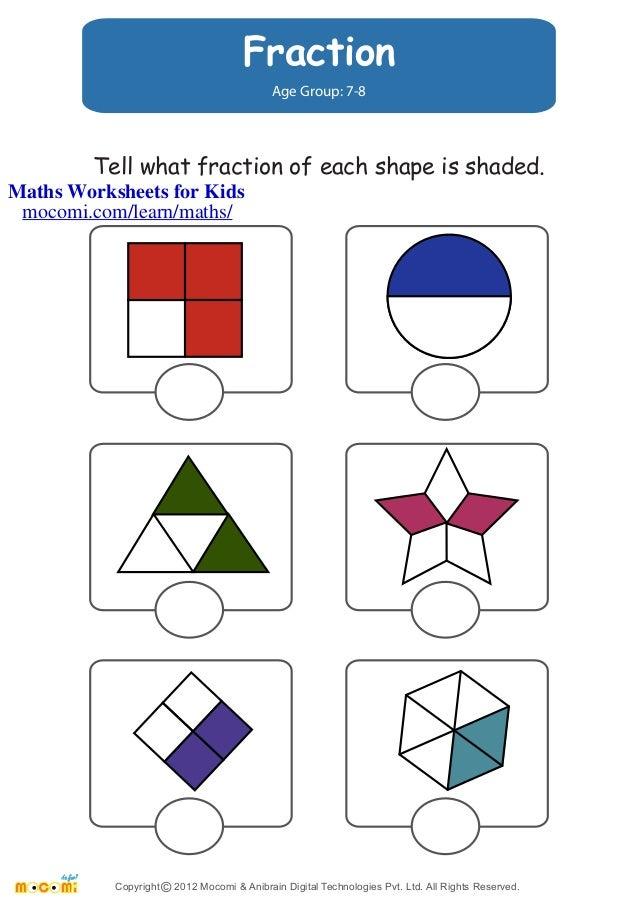 Fraction Maths Worksheets for Kids Mocomi – Age 8 Maths Worksheets
