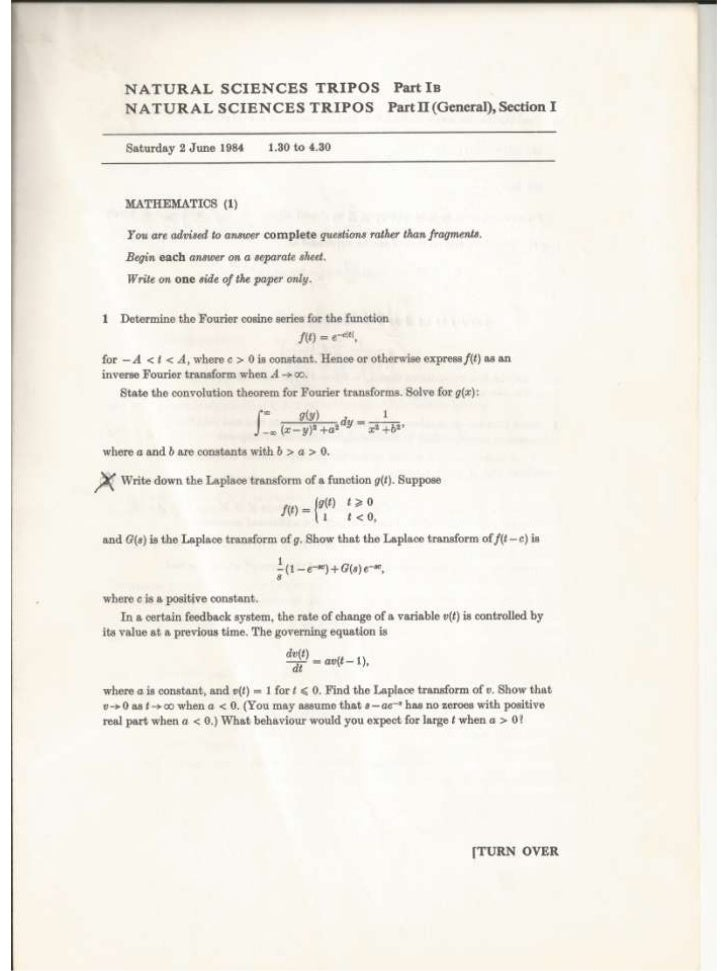 Natural Sciences Tripos, Part IB Mathematics (2 papers), from 1984