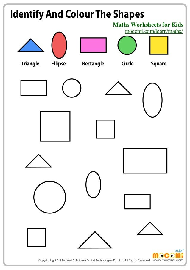 identify and colour the shapes maths worksheets for kids mo i c - Colour Worksheets For Kindergarten