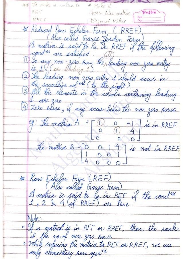 Maths II - Algebra Notes - Akshansh