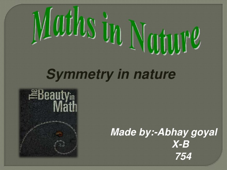 application of mathematics in nature Maths in nature - free  what was once seen as the randomness of nature is now distinguished as the intricate applications of mathematics and.