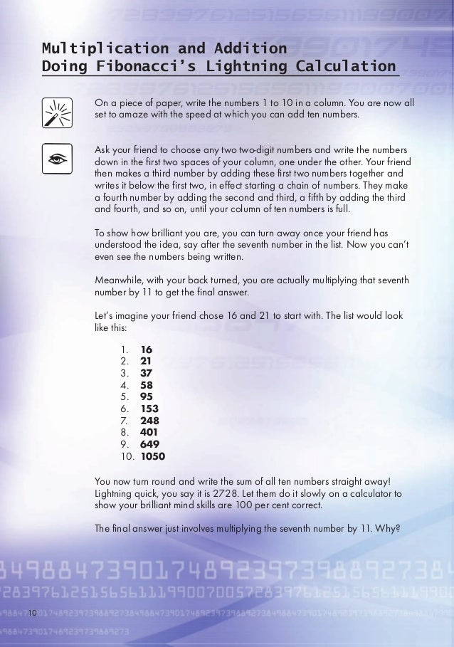 Multiplication and Addition Doing Fibonacci's Lightning Calculation On a piece of paper, write the numbers 1 to 10 in a co...