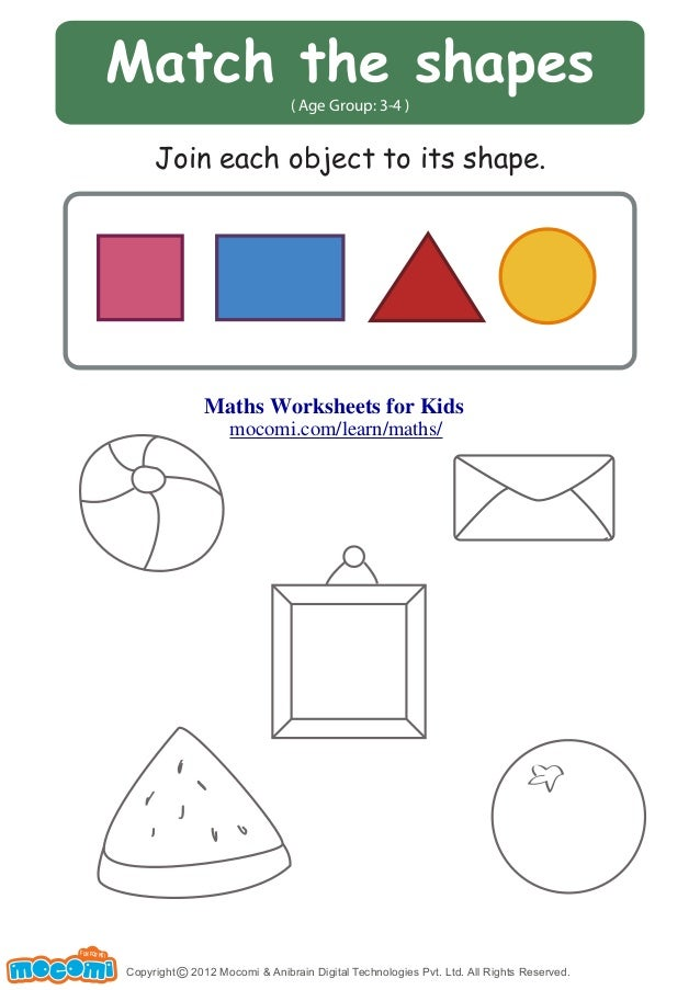 Match The Shapes Maths Worksheets For Kids Mocomi
