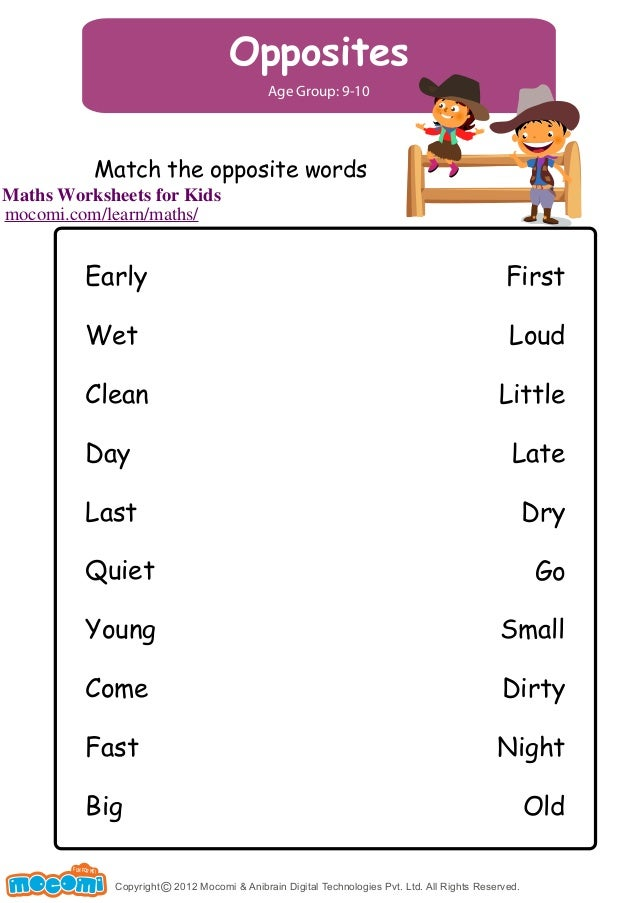 Match The Opposites Maths Worksheets For Kids Mocomi