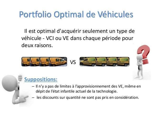 Portfolio Optimal de Véhicules Il est optimal d'acquérir seulement un type de véhicule - VCI ou VE dans chaque période pou...