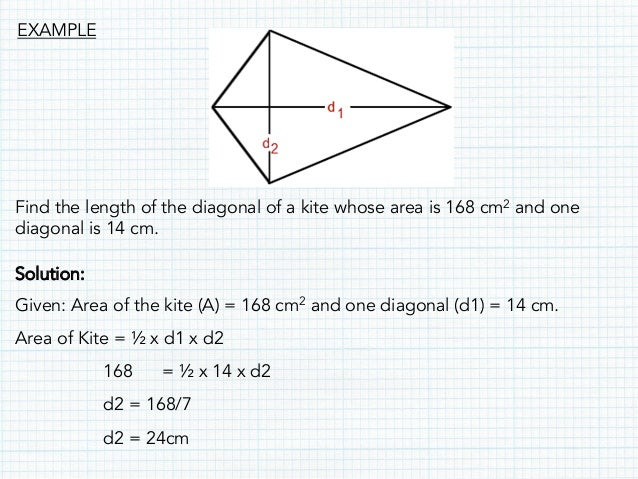 Maths quadrilateral presentation find the length of the diagonal of a kite ccuart Images