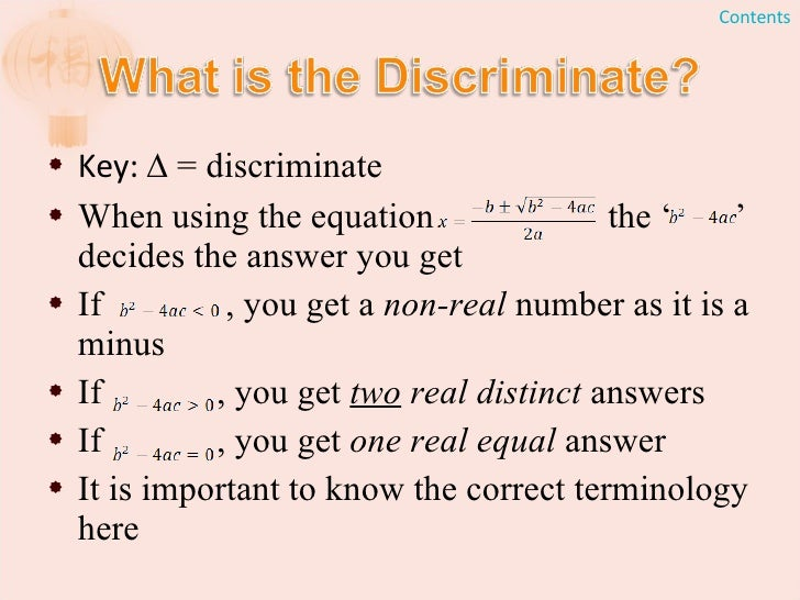 how to use discriminate math