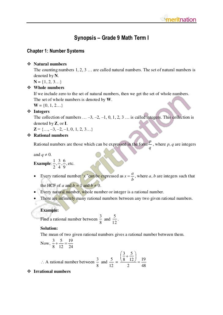 Synopsis – Grade 9 Math Term IChapter 1: Number Systems Natural numbers  The counting numbers 1, 2, 3 … are called natura...