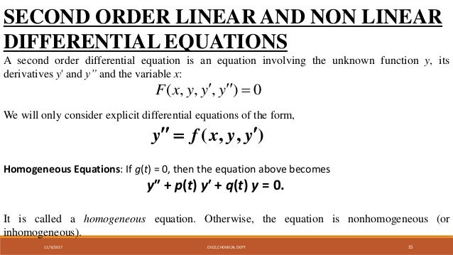 formulation of first order linear and nonlinear 2nd order