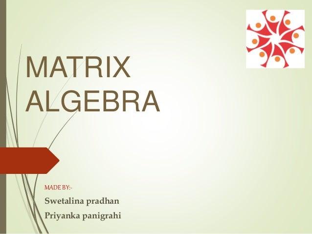 MATRIX ALGEBRA MADE BY:- Swetalina pradhan Priyanka panigrahi