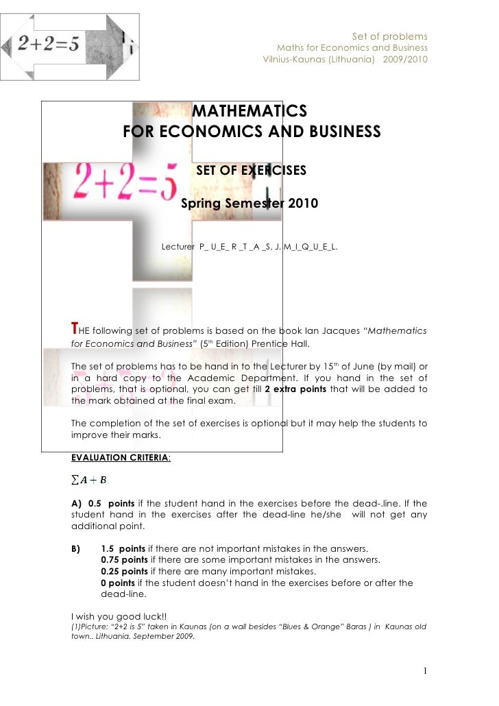 Set of problems                                                        Maths for Economics and Business                   ...