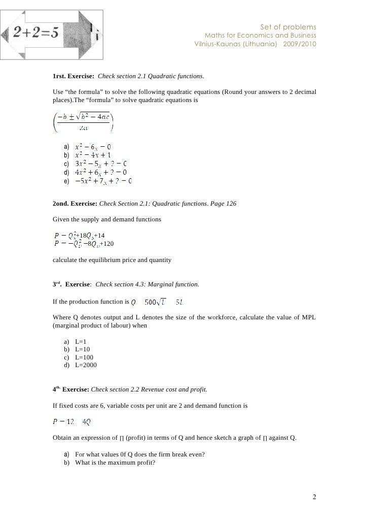 Maths set of exercises spring 2010