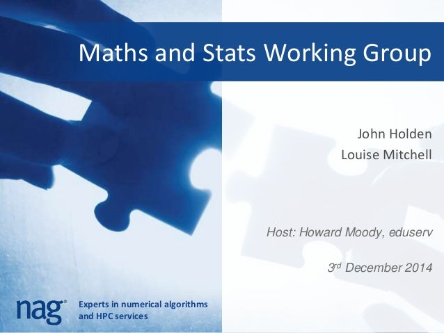Maths and Stats Working Group  Experts in numerical algorithms  and HPC services  John Holden  Louise Mitchell  Host: Howa...