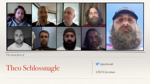 The many faces of  Theo Schlossnagle @postwait  CEO Circonus