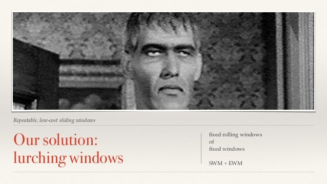 Repeatable, low-cost sliding windows  Our solution:  lurching windows  fixed rolling windows  of  fixed windows  SWM + EWM