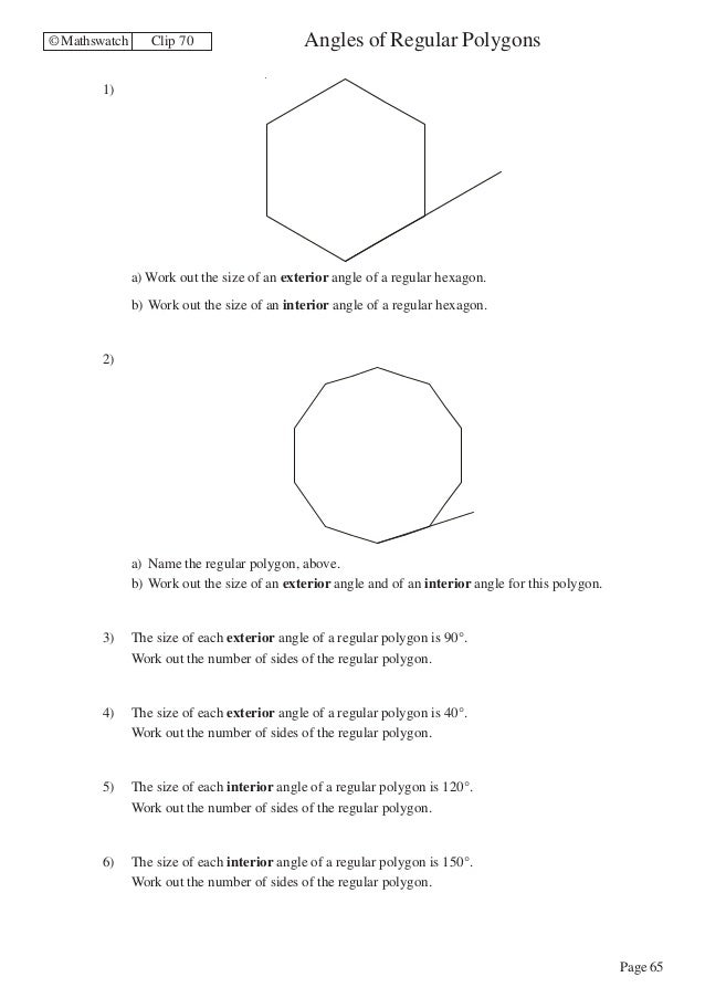 Maths Higher worksheets – Interior Angles of a Polygon Worksheet