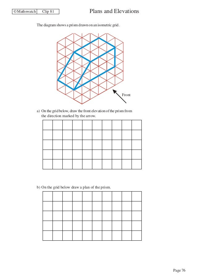 Plan And Elevation Maths : Surface area triangular prism worksheet free worksheets