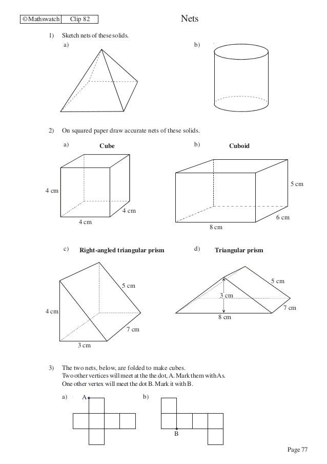 Maths Higher worksheets – Nets Worksheet