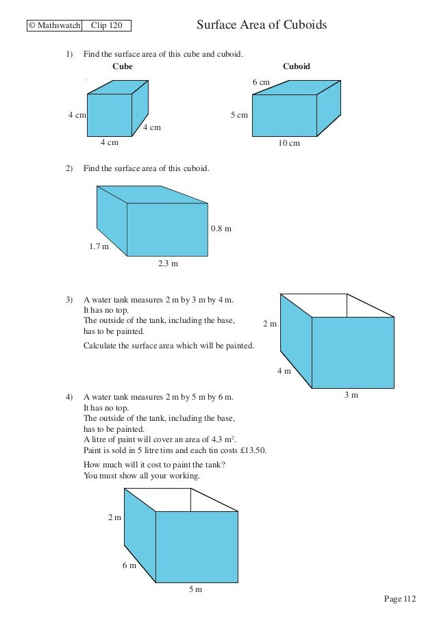 Maths Higher worksheets – Surface Area of a Cube Worksheet
