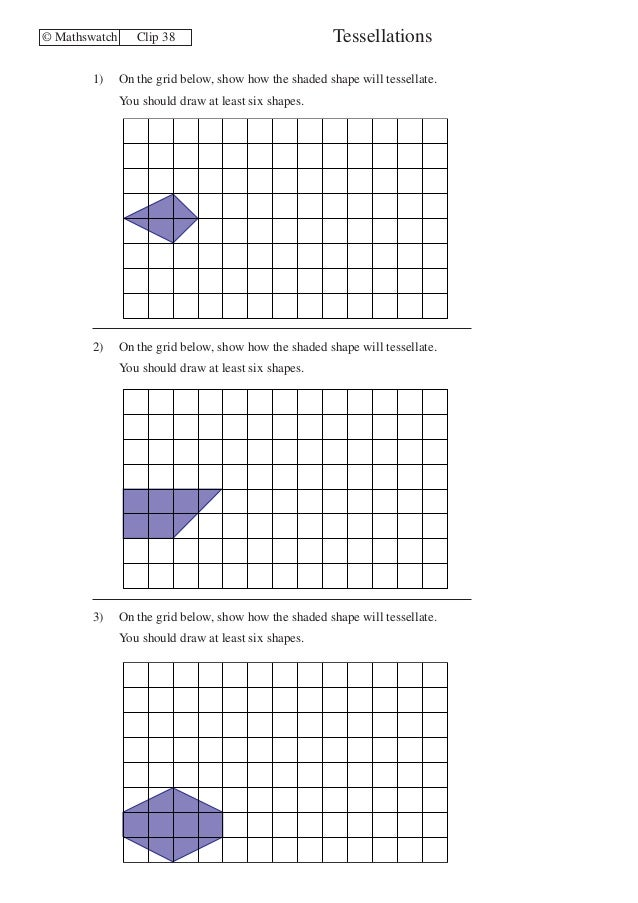 Maths watch worksheets sample – Tessellations Worksheet