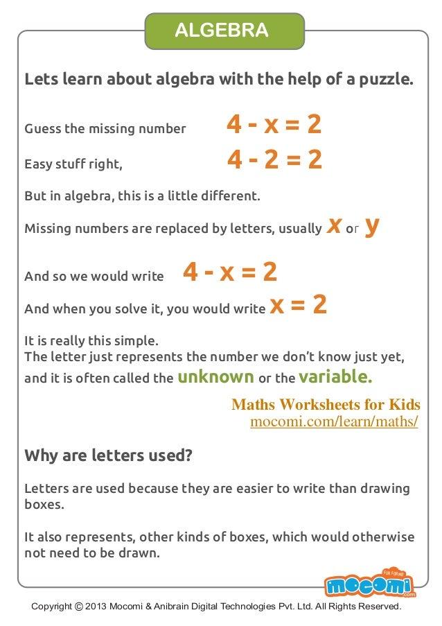 algebra  maths worksheets for kids  mocomicom