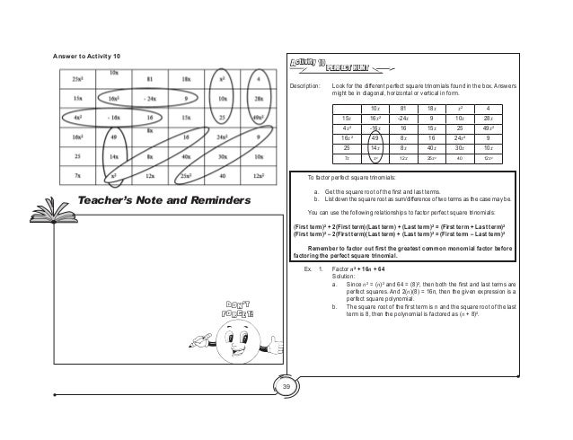 Math teachers guide1 1 – Perfect Square Trinomial Worksheet