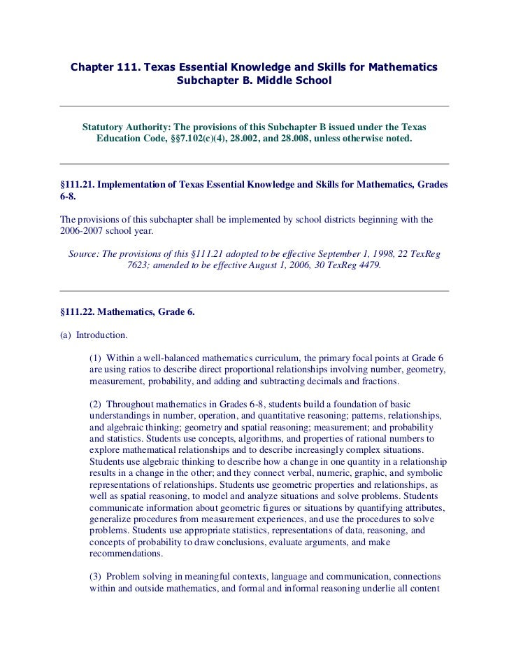 Chapter 111. Texas Essential Knowledge and Skills for Mathematics                    Subchapter B. Middle School     Statu...