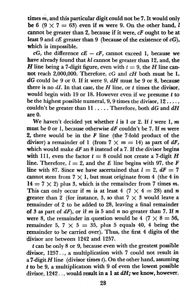 that dH = 0. Hence t must be 8. Moreover, since the divisor must at least begin with 1250 to create a 7-digit H line when ...