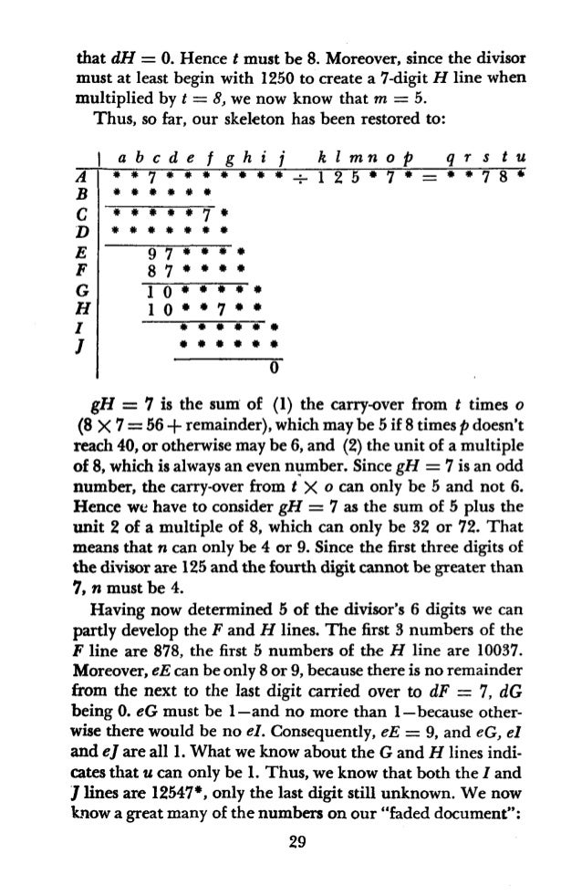 A B C D E F G H I I hI is 4. hH, above hI, must be at least 6 (from 8 X 7 = 56). Therefore, hG -hH must leave a remainder,...