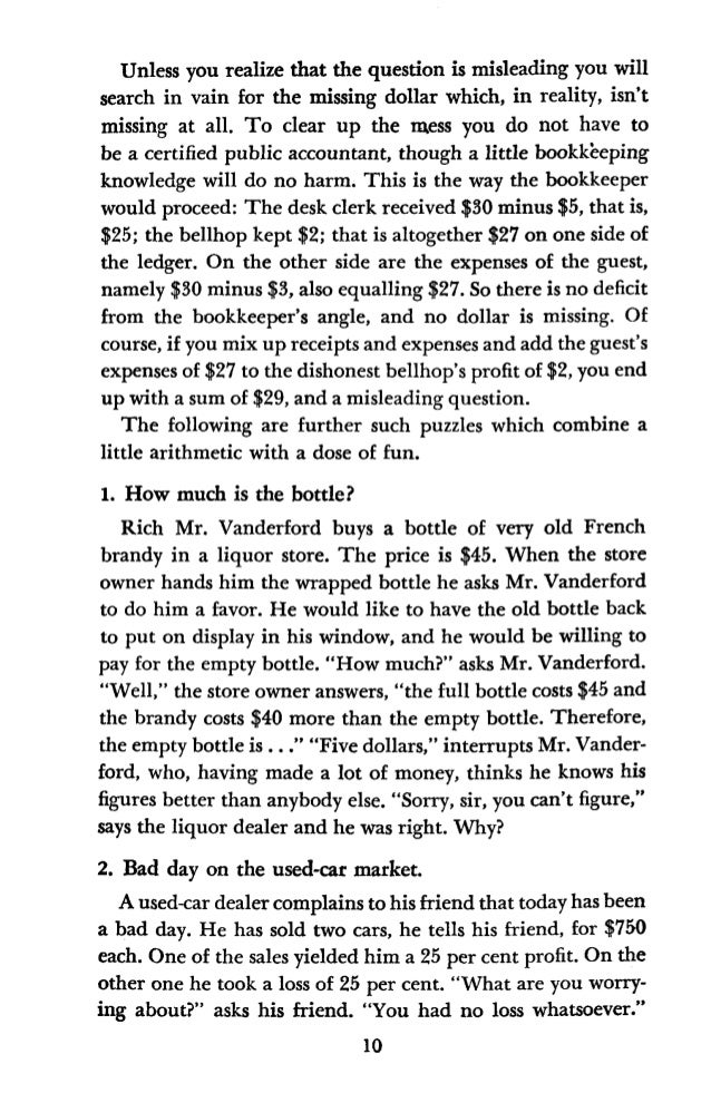 """""""On the contrary, a substantial one,"""" answers the car dealer. Who was right? 3. The miller's fee. In a Tennessee mountain ..."""