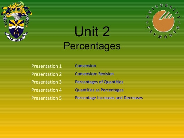 Unit 2 Percentages Presentation 1 Conversion Presentation 2 Conversion: Revision Presentation 3 Percentages of Quantities ...