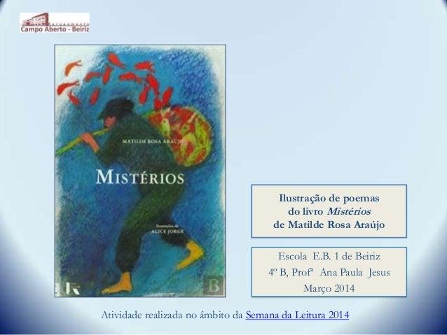 Ilustração de poemas do livro Mistérios de Matilde Rosa Araújo Atividade realizada no âmbito da Semana da Leitura 2014 Esc...