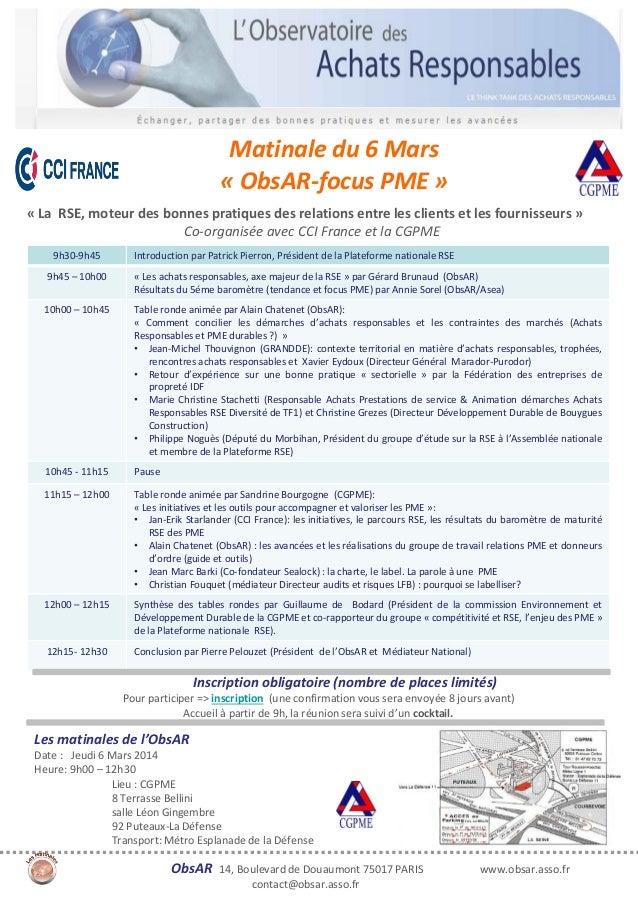 Devenez SPONSOR du :  « COLLOQUE « Matinale du 6 Mars « ObsAR-focus PME » « La RSE, moteur des bonnes pratiques des relati...