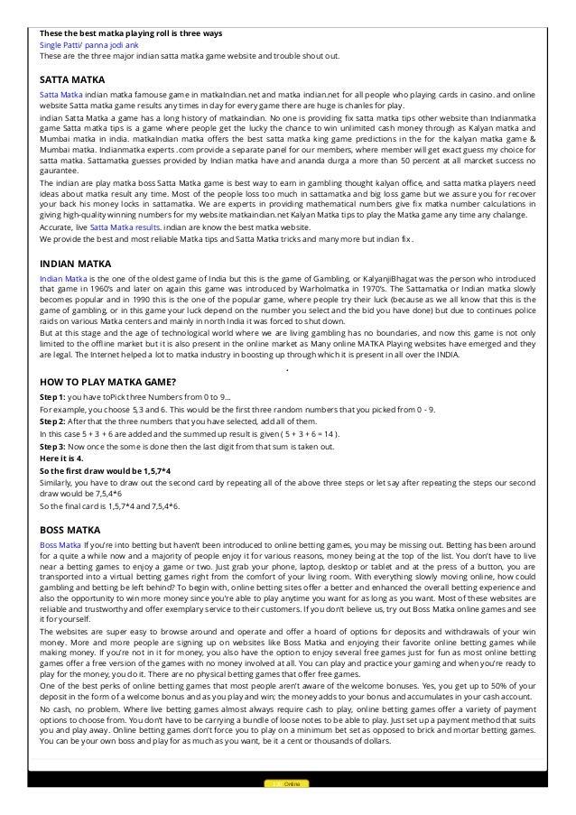 Matkaindian net | Get Satta Matka