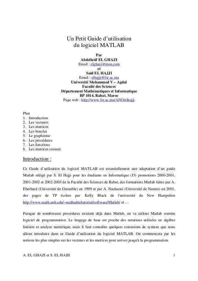Un Petit Guide d'utilisation                               du logiciel MATLAB                                             ...