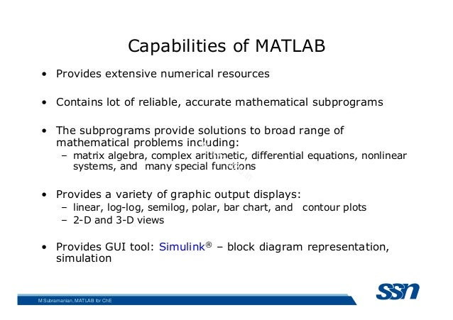 Matlab for chemical engineering 13 capabilities of matlab ccuart Choice Image