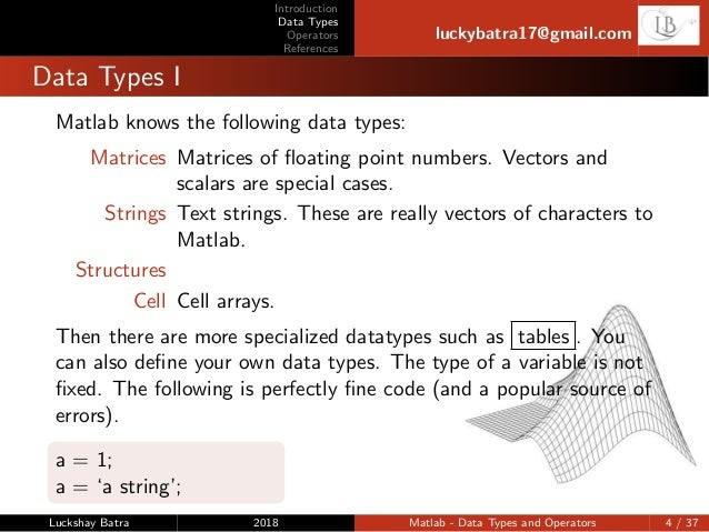 Matlab-Data types and operators