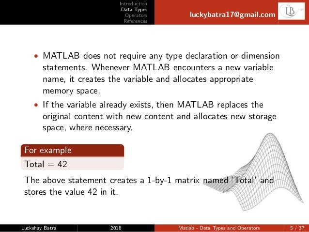 Matlab-Data types and operators