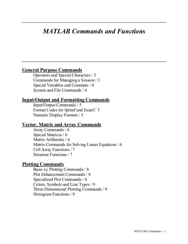 MATLAB Commands and Functions Dr. Brian Vick Mechanical Engineering Department Virginia Tech General Purpose Commands Oper...