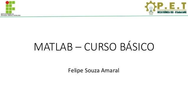 MATLAB – CURSO BÁSICO Felipe Souza Amaral