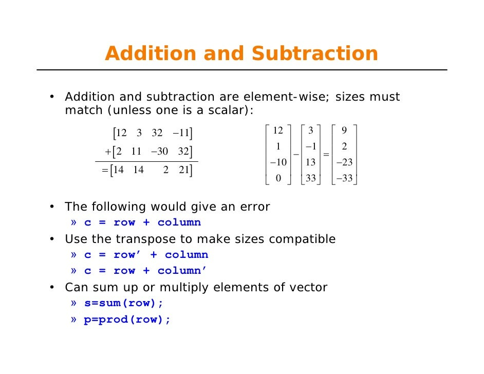 Element wise vector multiplication matlab tutorial pdf