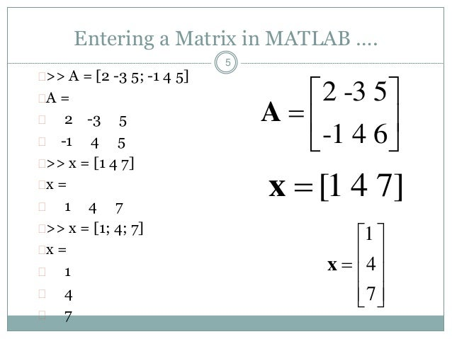 Matlab matrices and arrays for Table 2 matrix matlab