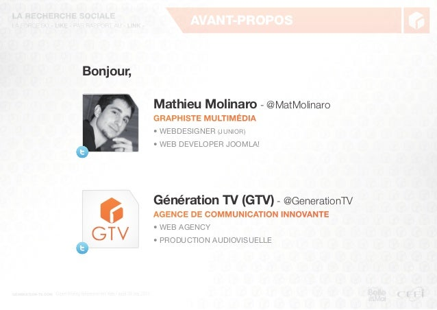 generation-tv.comAvant-proposBonjour,Mathieu Molinaro - @MatMolinaroGraphiste multimédia• Webdesigner (junior)• Web develo...