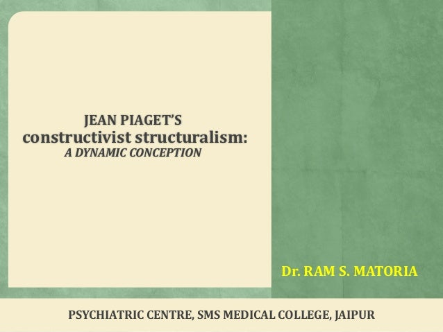 Dr. RAM S. MATORIA JEAN PIAGET'S constructivist structuralism: A DYNAMIC CONCEPTION PSYCHIATRIC CENTRE, SMS MEDICAL COLLEG...
